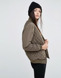 New Look Quilted Bomber Jacket Green