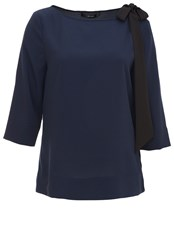 Hallhuber Chiffon Blouse With Bow Detail Blue