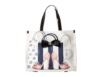 My Flat In London Head Over Heels Square Tote Natural Black Tote Handbags Beige
