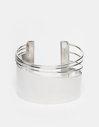 Selected Femme Sese Bar And Wire Cuff Bracelet Silver
