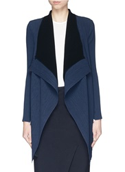 Armani Collezioni Plisse Pleat Georgette Open Drape Layer Cardigan Blue