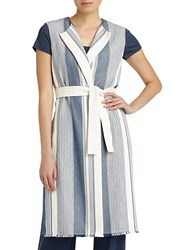 Lafayette 148 New York Fergie Calico Stripe Belted Vest White