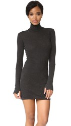 Enza Costa Cuffed Turtleneck Dress Charcoal