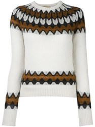 Laneus Intarsia Knit Jumper White
