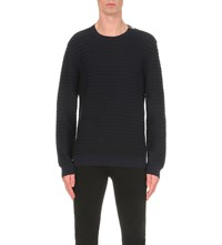 The Kooples Leather Trim Wool Jumper Navy