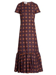 La Doublej Editions The Maiolica Print Rain Dress Purple Multi