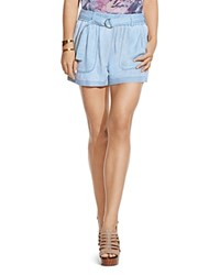 Two By Vince Camuto Belted Chambray Shorts Echo Blue