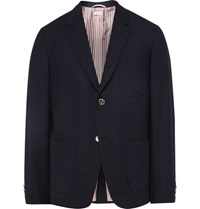 Thom Browne Melange Wool Blend Boucle Blazer Midnight Blue