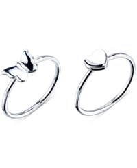 Unwritten Butterfly And Heart Ring Set In Sterling Silver