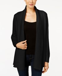 Charter Club Petite Shawl Collar Textured Open Front Cardigan Only At Macy's Deep Black