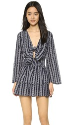 Moon River Tie Front Printed Dress Navy