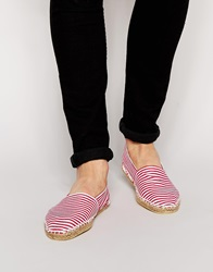Asos Canvas Espadrilles With Red And White Stripe Redwhite