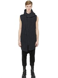 Rick Owens Hooded Sleeveless Silk Cardigan