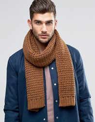 Asos Knitted Scarf In Tobacco Tobacco Tan