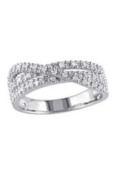 Sterling Silver Multi Twist Pave Diamond Ring 0.25 Ctw Metallic
