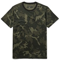 Rag And Bone Camouflage Print Cotton Jersey T Shirt Army Green