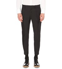 Dsquared Admiral Regular Fit Wool And Silk Blend Trousers Black
