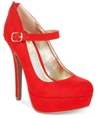 Material Girl Koko Mary Jane Platform Pumps Only At Macy's Women's Shoes Red Snake