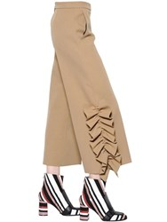 Msgm Cropped Stretch Crepe Pants W Ruffles