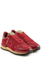 Valentino Rockrunner Leather And Lace Sneakers Red
