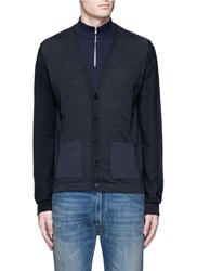 Maison Martin Margiela Tri Colour Wool Cardigan Black