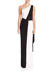David Meister Two Tone Draped Cape Gown Black White