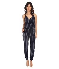 Brigitte Bailey Makena Spaghetti Strap Striped Jumsuit Navy Ivory Women's Jumpsuit And Rompers One Piece Blue