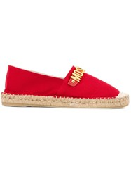 Moschino Logo Plaque Espadrilles Red