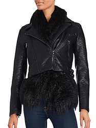 Dawn Levy Faux Fur Layered Faux Leather Jacket Black