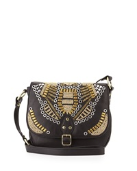 Ash Zuma Embellished Flap Crossbody Bag Black