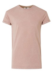 Topman Tan Crackle Effect Muscle Fit Roller T Shirt Brown