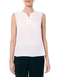 Laundry By Shelli Segal Lace Up Sleeveless Blouse Pearl