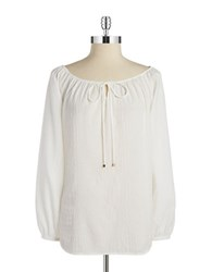 Jones New York Textured Peasant Blouse White