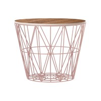 Ferm Living Medium Wire Basket Rose With Smoked Oak Lid