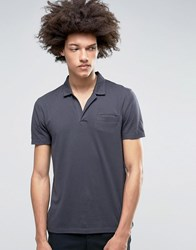 Asos Polo With Open Collar And Pocket In Grey Ebony