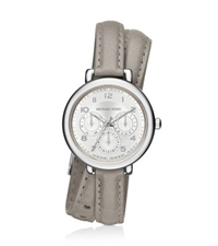 Michael Kors Kohen Silver Tone And Leather Wrap Watch
