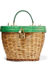 Dolce And Gabbana Wicker Printed Textured Leather Tote Green