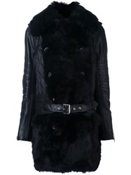 Sacai Fur Panelled Biker Coat Black