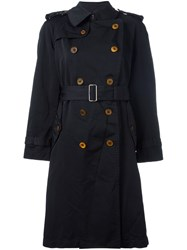 Comme Des Garcons Belted Trench Coat Black