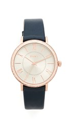 Dkny Willoughby Leather Strap Watch Navy Rose Gold