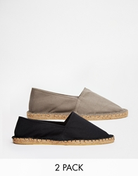 Asos Canvas Espadrilles 2 Pack Save 20 Blackgrey