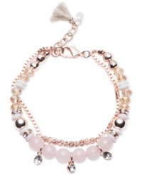 Lonna And Lilly Rose Gold Tone Baby Pink Beaded Crystal Layer Bracelet