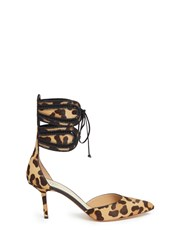 Francesco Russo Leopard Print Calfhair Ankle Tie Pumps Animal Print