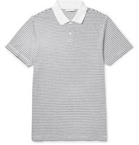 Sunspel Slim Fit Striped Cotton Jersey Polo Shirt White