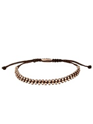Paul Smith Rose Tone Silver And Cotton Bracelet