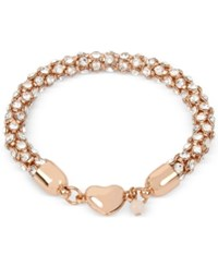 Betsey Johnson Rose Gold Tone Pave Crystal Heart Bracelet