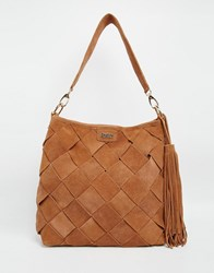 Faith Suede Slouch Hobo Shoulder Bag Tan