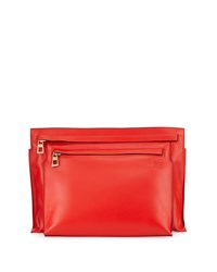 Loewe Smooth Calfskin Large Double Pouch Crossbody Bag Red Size L
