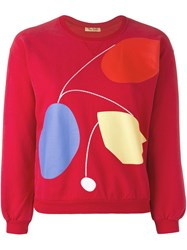 Peter Jensen Art Cropped Sweatshirt Red