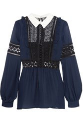 Self Portrait Guipure Lace And Georgette Blouse Navy